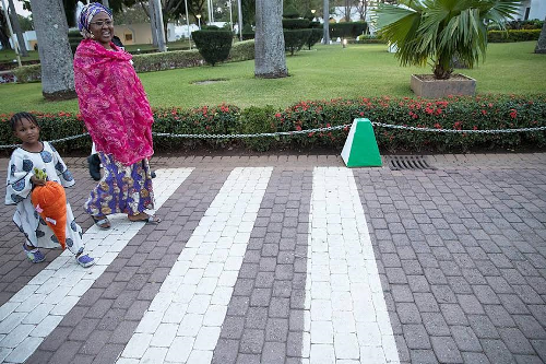 Photos: Aisha Buhari pictured taking a walk with her adorable granddaughter at the Presidential Villa