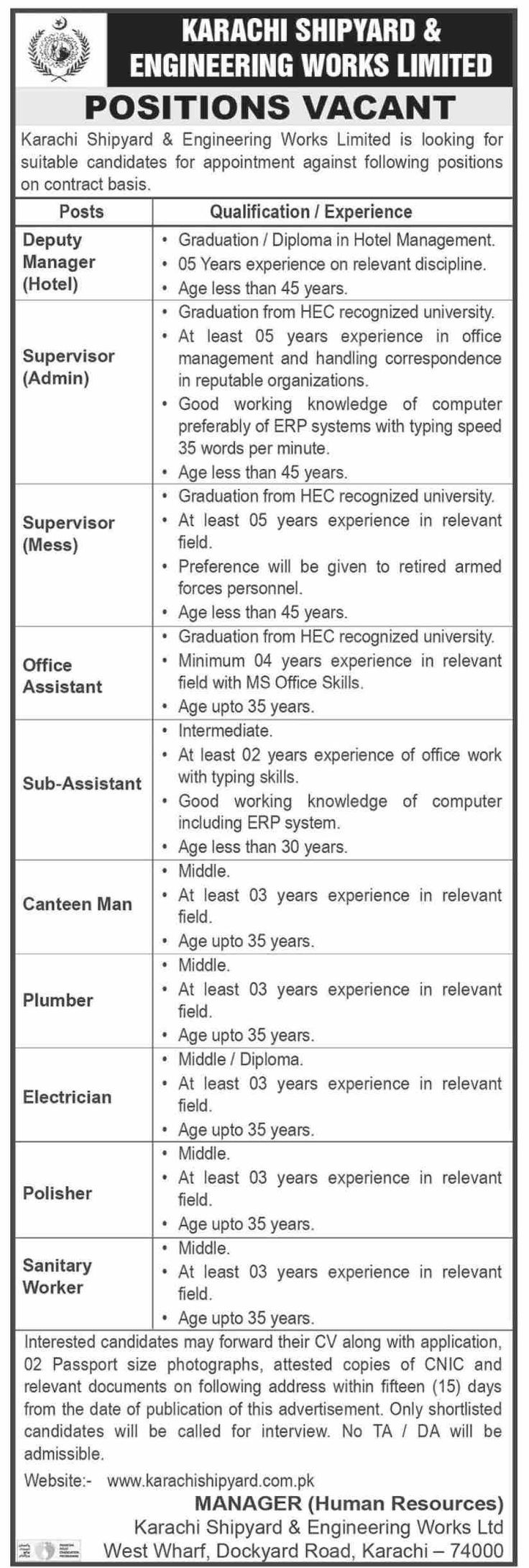 Karachi Shipyard And Engineering Works Limited Jobs 2021 Latest