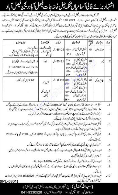 Prison Department Punjab Jobs 2021   Jail Police jobs 2021