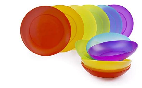 Piatti da camper e campeggio in plastica dura multicolore