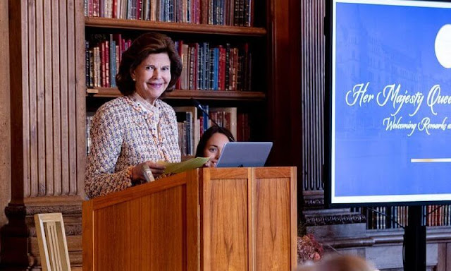 Queen Silvia wore a tweed jacket and skirt by Chanel, Chanel tweed cropped scarf in magenta and Zara tweed jacket and skirt