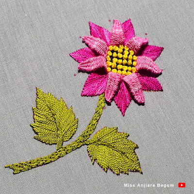 Beautiful hand embroidery easy method, Flower embroidery easy way