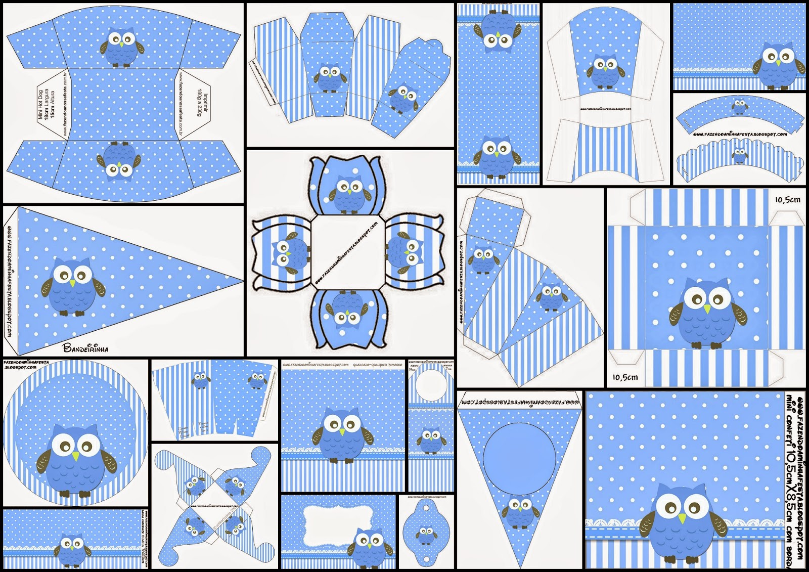 Owls in Light Blue and Polka Dots Free Printable Kit.