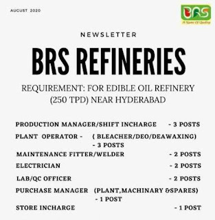 Edible Oil Refinery Recruitment ITI, Diploma, Graduate Candidates For Multiple Positions