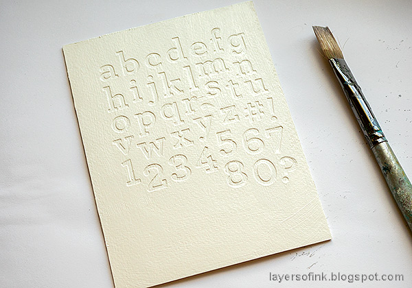 Layers of ink - Glittery Alphabet Notebook Tutorial by Anna-Karin Evaldsson. Coat with gesso.