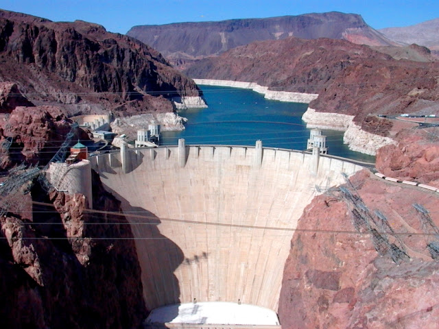 The giant Hoover Dam at the Grand Canyon
