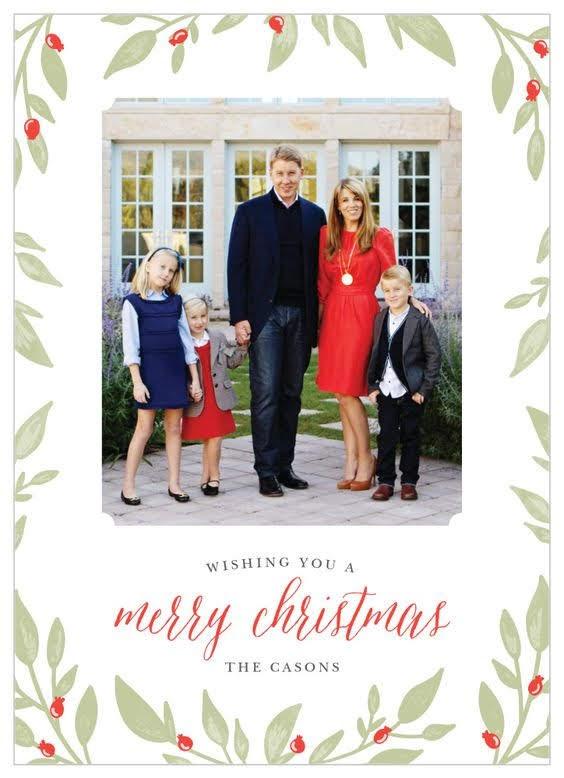 Leaves & Berries Photo Christmas Card | Basic Invite
