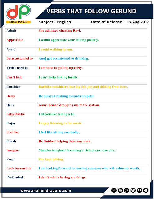 DP | Verbs That Follow Gerund | 18- Aug - 17
