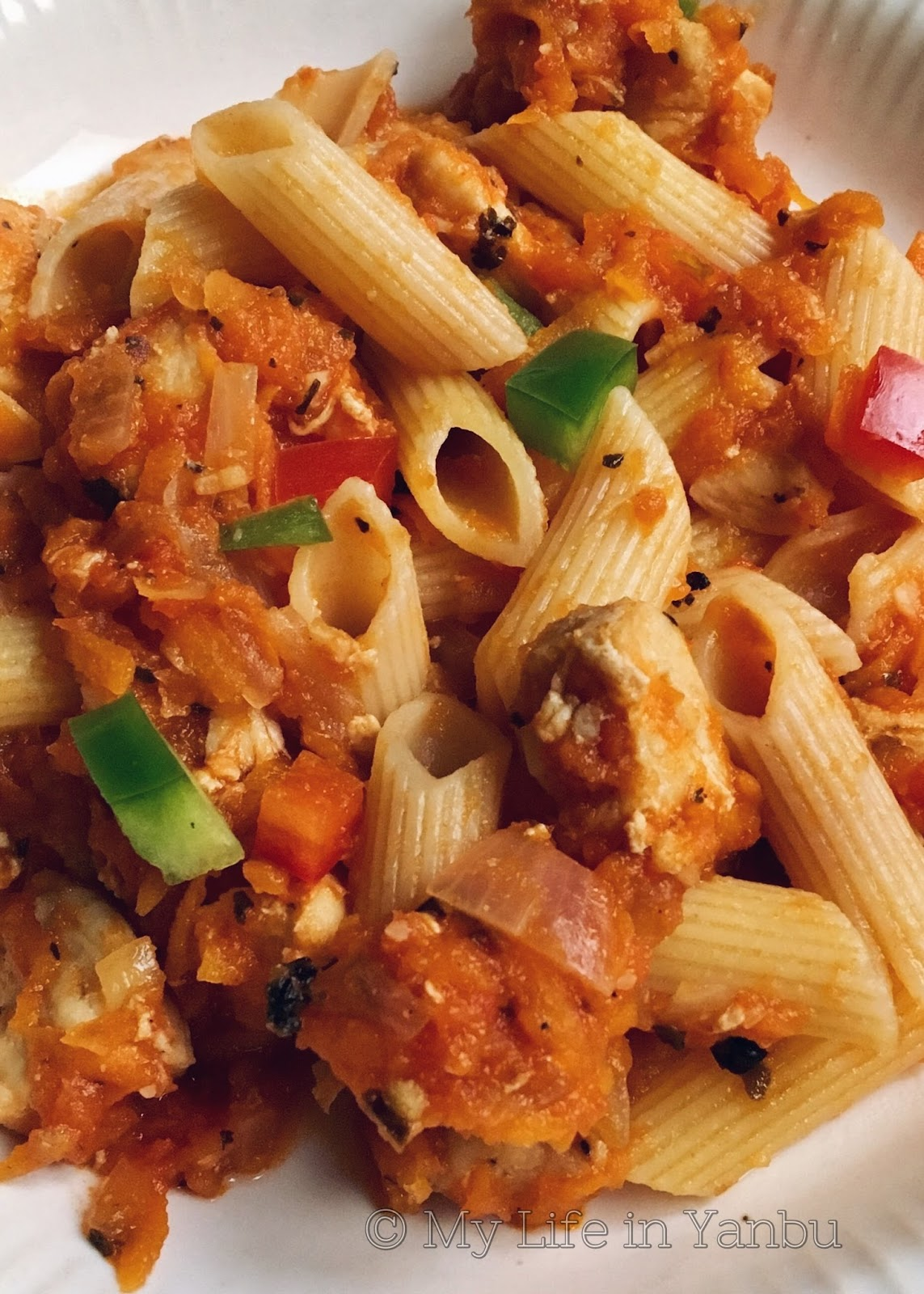 Penne in Arrabbiata Sauce with Chicken Chunks