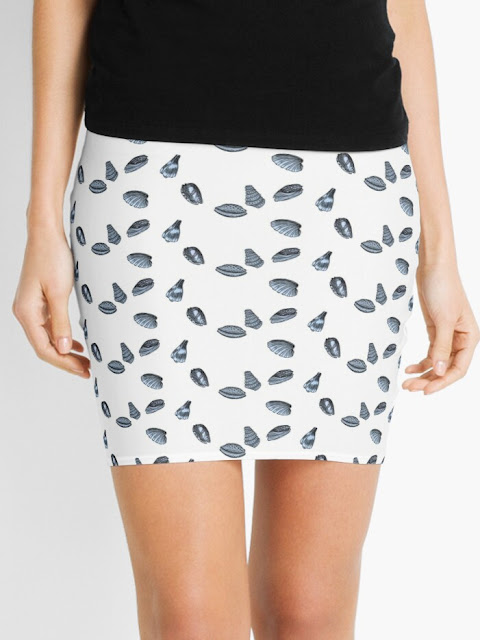 skirt with drawing of seashells
