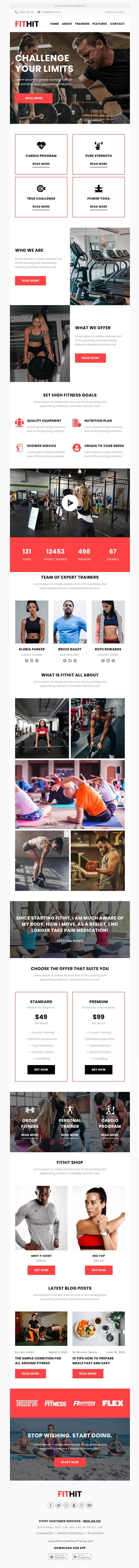 Responsive Email Template For Gym and Yoga With Free Email Editor