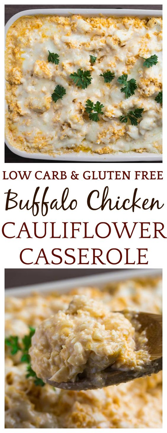 KETO/LOW CARB-Creamy Buffalo Chicken Cauliflower Casserole