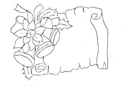 risco de pergaminho e sinos de natal para pintura em tecido