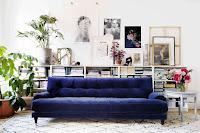 Blue velvet sofa from IKEA