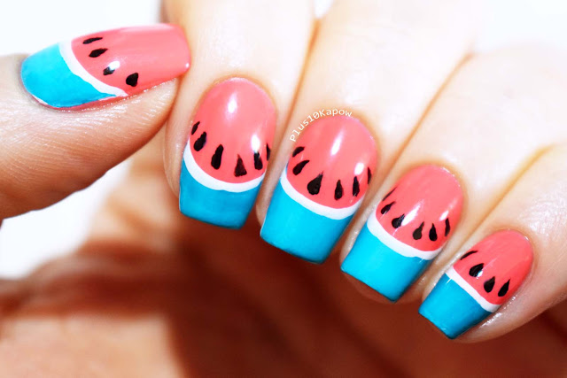 Barry M Gelly Blueberry Muffin and Pink Grapefruit Swatch and Watermelon Nail Art