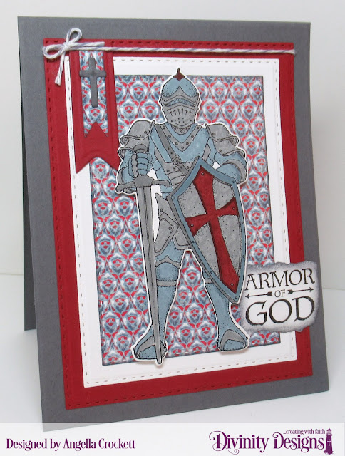 Divinity Designs LLC Stamps: Armor of God SD/Duo, Full Armor; Paper: Americana Quilt; Dies: Twist & Pop with Layers, A2 Portrait Card Base with Layers, Double Stitched Rectangles, Double Stitched Squares, Squares, Ornamental Crosses, Pennant Flags, Double Stitched Pennant Flags; Card Designer Angie Crockett