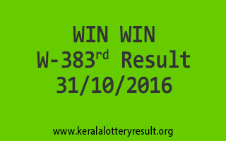 WIN WIN W 383 Lottery Results 31-10-2016