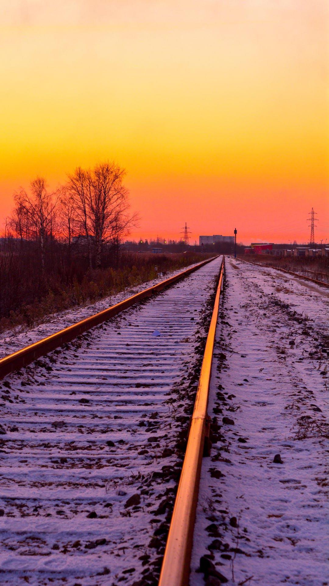Sunset Railroad Tracks Wallpaper + Wallpapers Download 2021