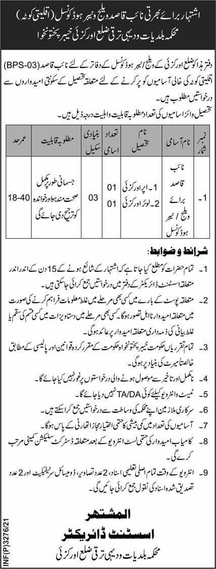 Local Government and Rural Development Department KPK Jobs 2021 AdvertisementLocal Government and Rural Development Department KPK Jobs 2021 Advertisement