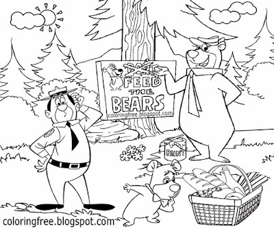Kids printable national park US motion picture yogi bear's adventures feeding wild animals coloring