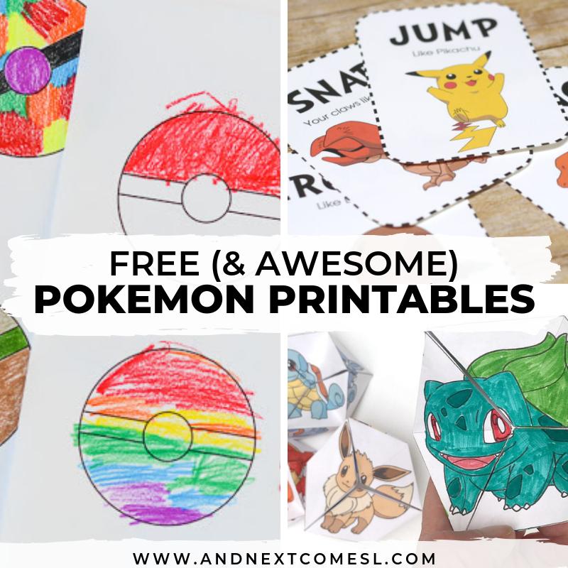 free pokemon printables for