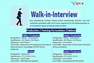 Walk-in-Interview Ipca Laboratories Limited For ITI,10th and 12th Pass M. Pharm. / B. Pharm Candidates at Indore, Madhya Pradesh