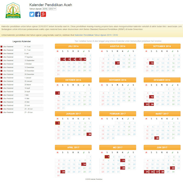 Kalender Pendidikan Tahun 2016/2017 Semua Provinsi di Indonesia