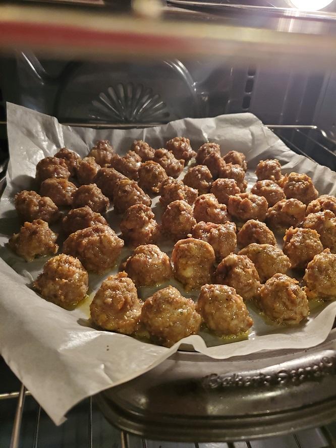 this is a pan of baked meatballs to make salisbury steak meatballs marsala