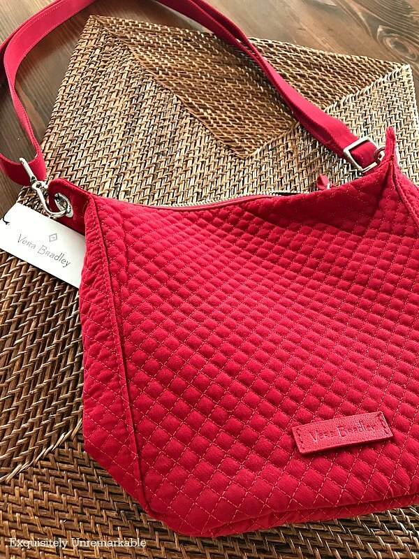 Vera Bradley Carson Mini Hobo Cardinal Red