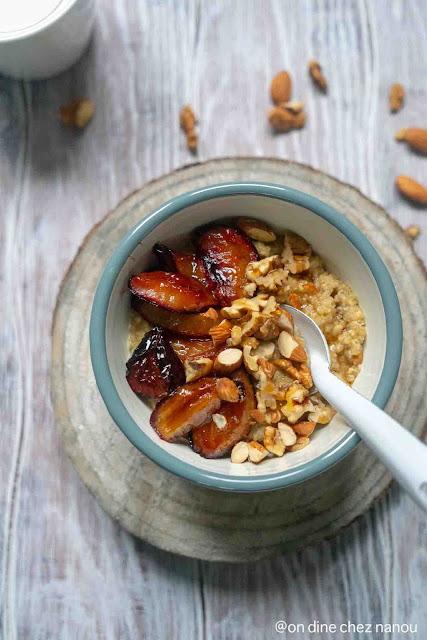 petit déjeuner healthy , sans blé , quinoa , porridge , lait végétal