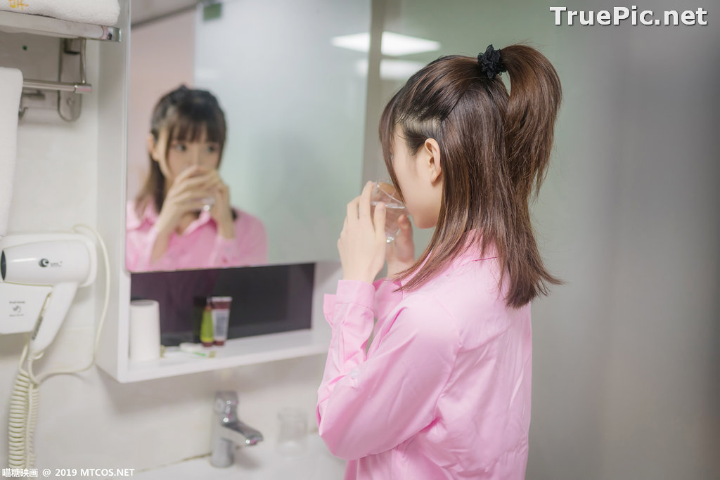 Image [MTCos] 喵糖映画 Vol.022 – Chinese Model – Pink Shirt and Black Stockings - TruePic.net - Picture-8