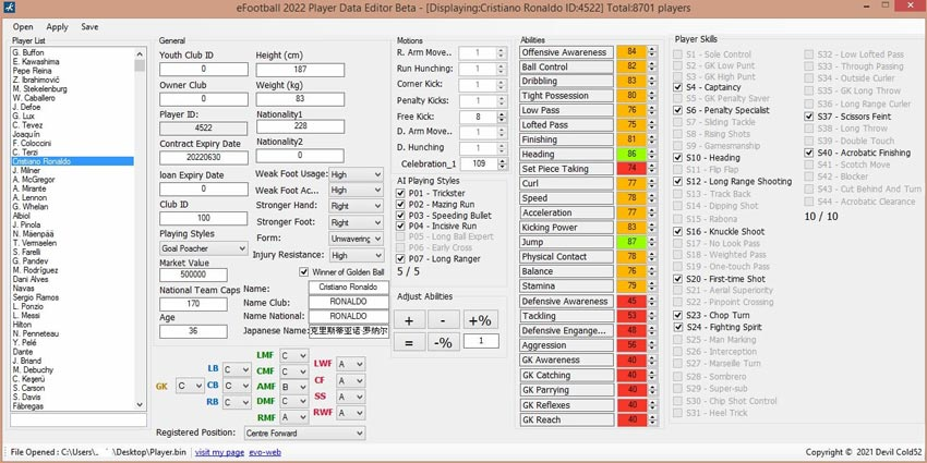 Player Data Editor Beta For eFootball 2022