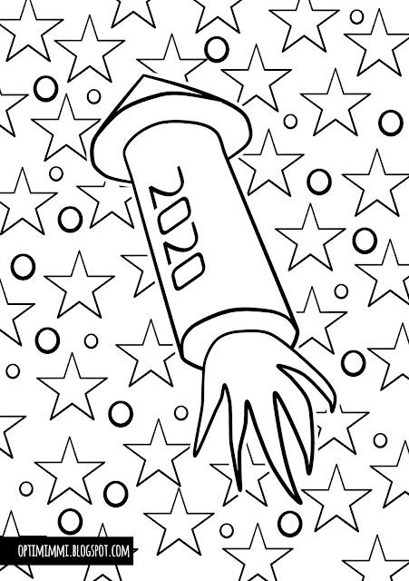 A coloring page of fireworks and stars to celebrate New Year 2020 / Värityskuva ilotulitteesta ja tähdistä juhlistamaan uutta vuotta 2020