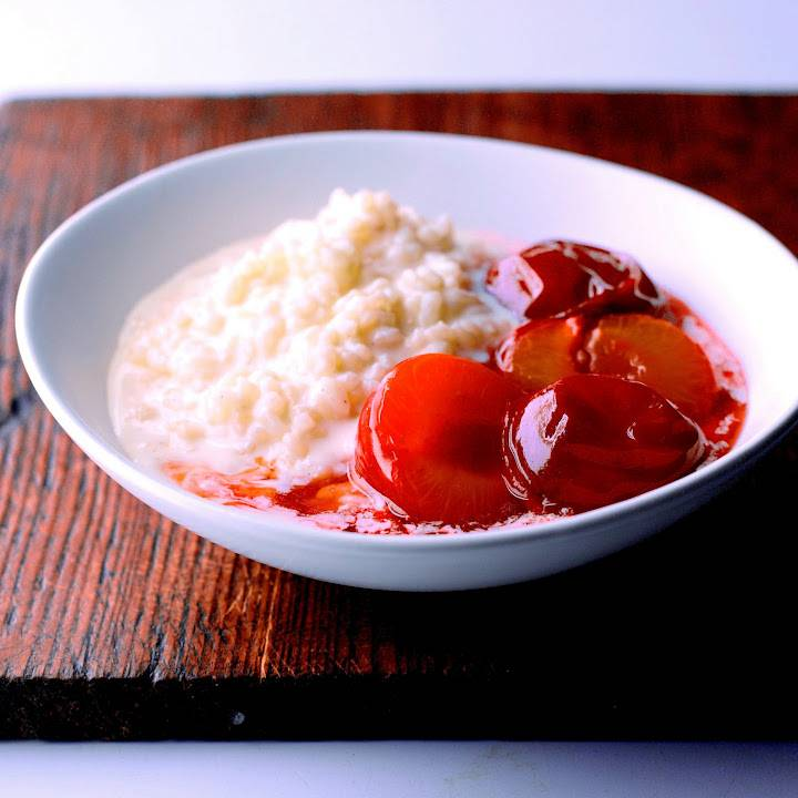 Rice Pudding With Marsala Poached Plums