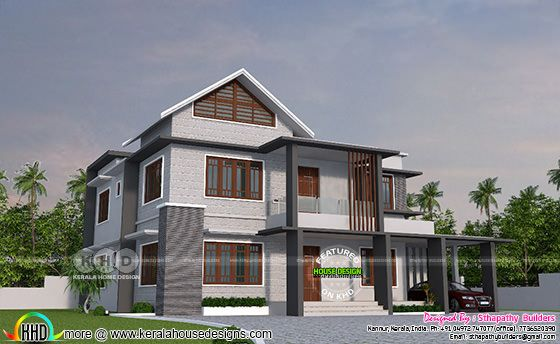 2528 square feet 4 bedroom sloping roof mix modern home