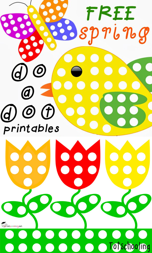 Free Do a Dot Spring Printables | Totschooling - Toddler, Preschool ...