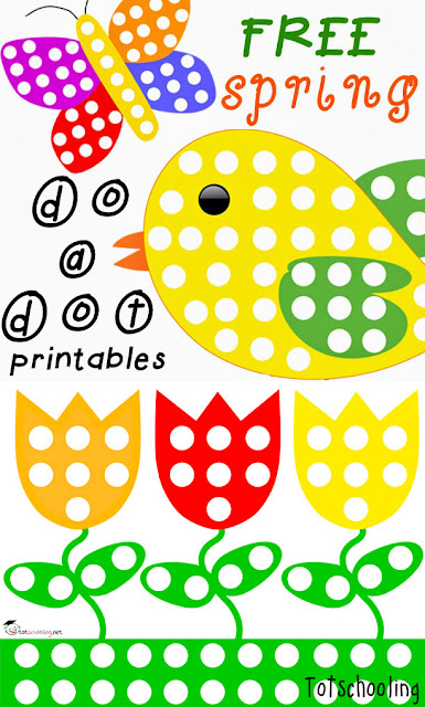 Free Spring themed Do a Dot printable sheets featuring butterfly, tulips, bird and park scene. Great for toddlers & preschoolers.