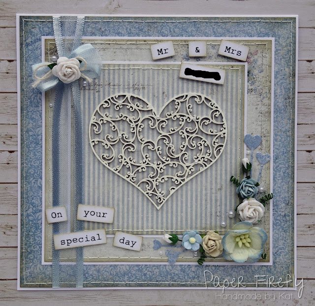 Shabby chic wedding card with chipboard heart