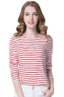 Red and white striped boatneck top