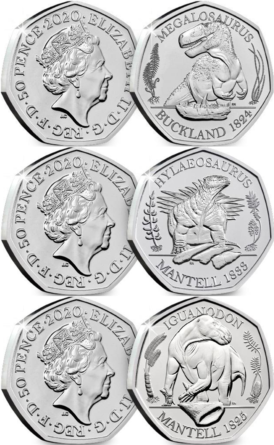 United Kingdom 50 pence 2020 - Dinosaurs