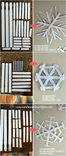 Paint and some glue turn these regular paint sticks into beautiful snowflakes for a fun and rustic piece of holiday decor!