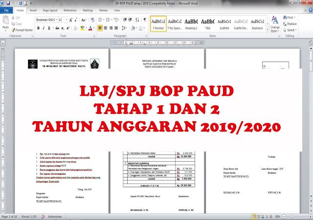 Lpj Bop Paud Tahap 1 Dan 2 Tahun Angaran 2019 2020 Arsip Paud