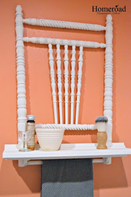 repurposed chair in the bathroom