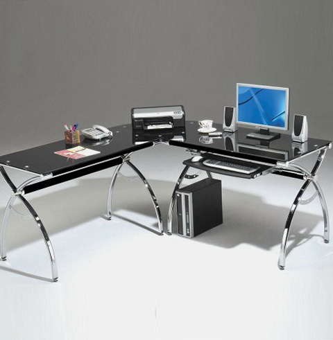 Excellent  Glass Computer Desk 29 34 H X 46 78 W X 25 38 D Pewter By Office Depot