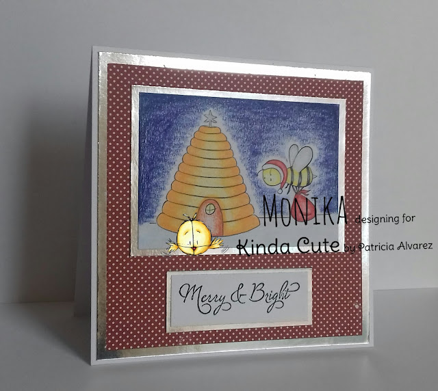 Christmas card using Santa Bee digital stamp