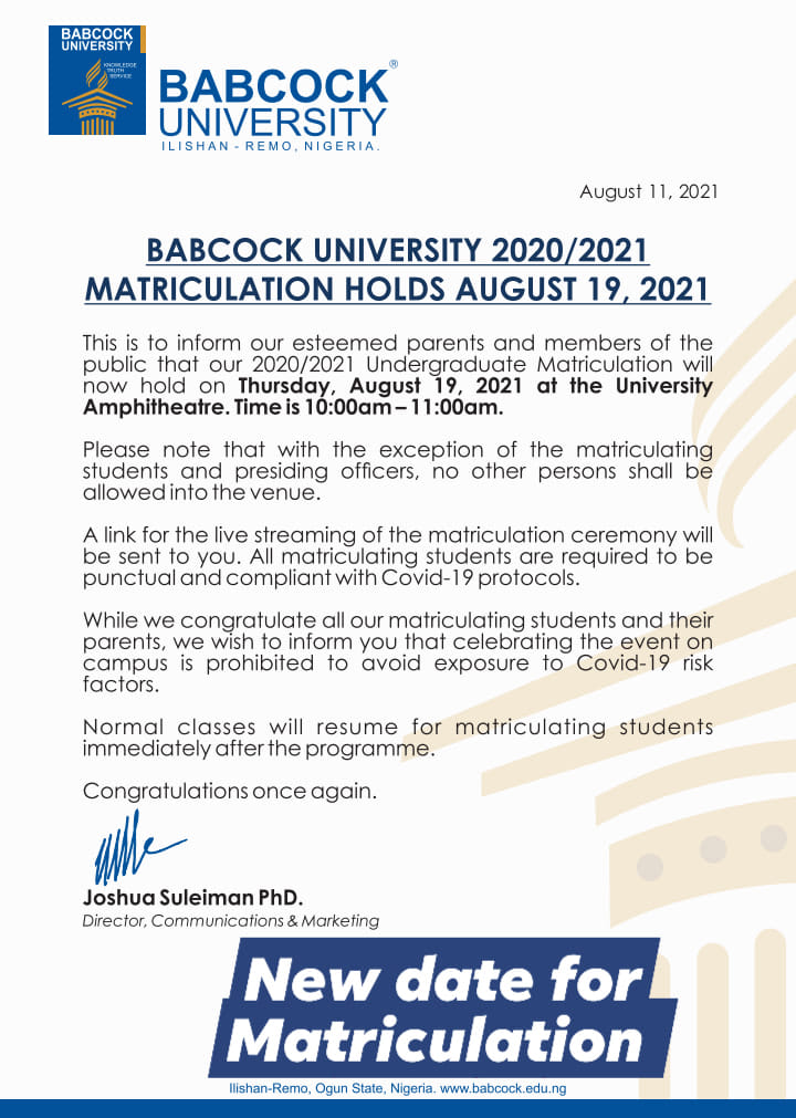 Babcock University Matriculation Ceremony Date 2020/2021
