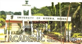 UNN: Resumption of 2019/2020 Academic Session