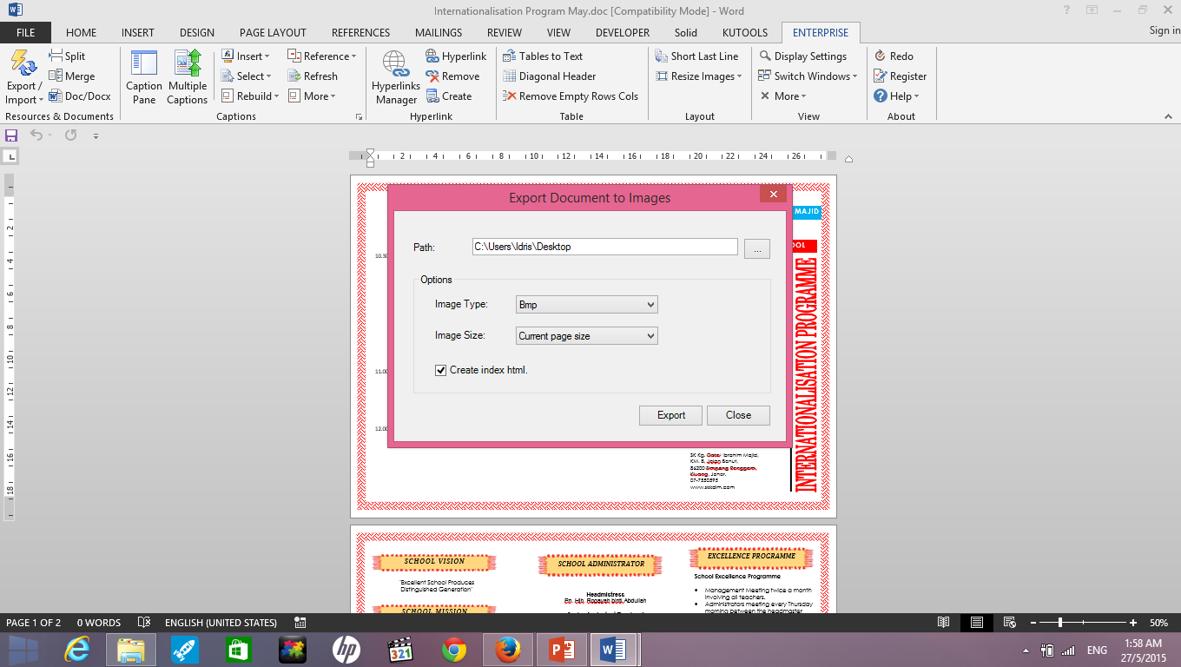 Ms Word Save Word Document Sebagai Gambar Jpeg Png Dsb Cikgu Idris