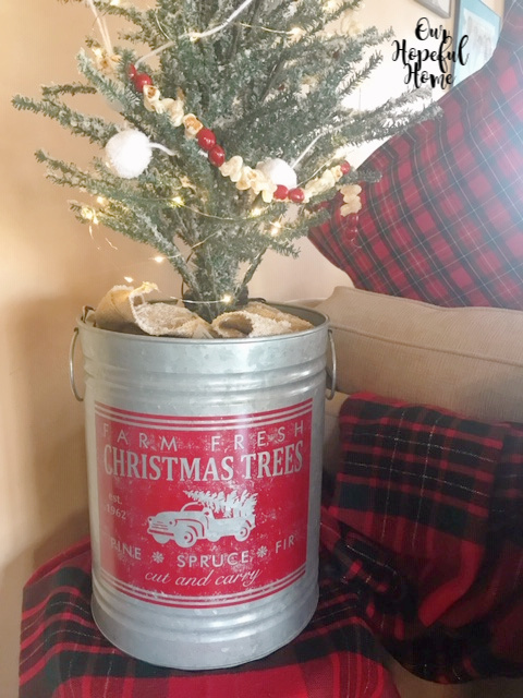 Pine Spruce Fir Cut Carry red paint galvanized Christmas bucket