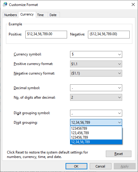 Changing Digit Grouping From Control Panel